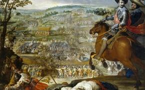 Картинка картина, армия, сражение, батальный жанр, Винченцо Кардуччи, Победа в Битве при Флерюсе