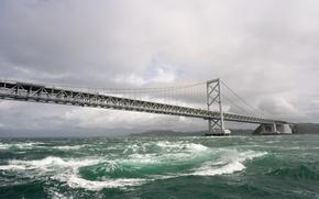 Картинка волны, небо, вода, мост