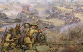 Картинка поле, война, ссср, солдаты, танки, русские, немцы, фашисты
