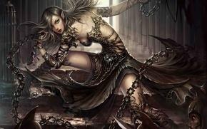 Картинка девушка, оружие, арт, коридор, эльфийка, цепи