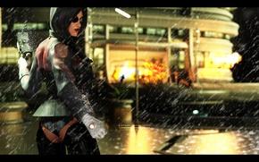 Обои Deus Ex: Human Revolution, deus ex, human revolution, киборг, дождь, улица, ночь, попа, очки, киберпанк, ...