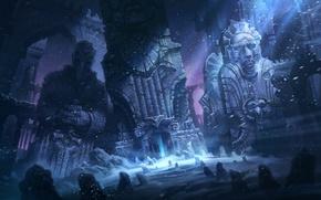 Картинка снег, ночь, камни, люди, руины, метель, Говард Лавкрафт, иллюстрация к к ниге, зрам, Хребты Безумия, …