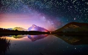Обои звезды, небо, млечный путь, ночь, озеро, боке, отражения, горы, свет, гора