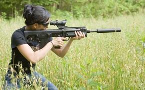 Картинка трава, девушка, снайпер, винтовка
