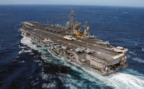 Картинка океан, ход, номер CV-63, USS Kitty Hawk, американский авианосец