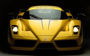 Картинка желтый, фары, Ferrari, Evolution, Enzo