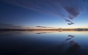 Картинка небо, вода, облака, отражения, город, огни, берег, вечер, Испания, Валенсия, Gavines (Les), Alfredo Biot Photography, …