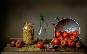 Обои лук, помидоры, чеснок, макароны