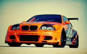 Обои e46, оранжевая, машина, car, авто, bmw, бмв