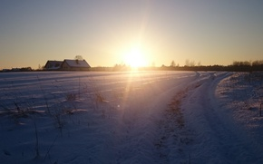 Картинка Зима, деревня, закат, солнце
