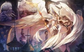 Картинка девушка, фантастика, крылья, ангел, арт, посох