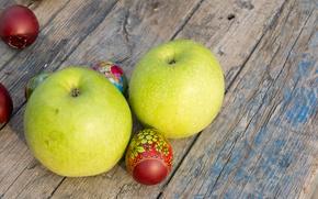 Картинка праздник, яблоки, яйца, весна, Пасха, пасхальные