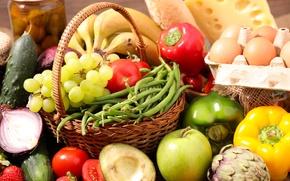 Картинка apple, яблоко, яйца, сыр, огурец, клубника, виноград, бананы, помидоры, background, cheese, pepper, tomato, Grapes, Fruit, …