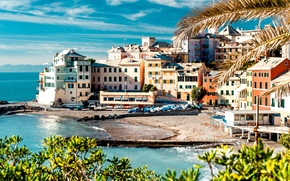 Картинка море, деревья, пейзаж, природа, берег, побережье, здания, дома, лодки, причал, Италия, Italy, Cinque Terre, Чинкве-Терре