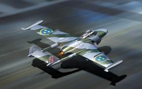 Картинка самолет, истребитель, арт, палуба, бомбардировщик, взлет, ВВС, британский, Веном, Venom, службе, авианосца, DH-112, Швеции.