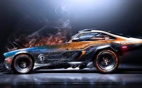Картинка дым, искры, царапины, Автомобиль