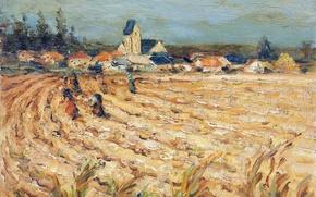 Картинка деревья, пейзаж, дома, картина, урожай, Марсель Диф, Женщины в пшеничном поле