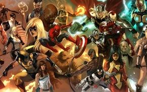 Обои железный человек, человек паук, iron man, капитан америка, фантастическая четверка, рассомаха, коллаж, люди икс, комиксы, ...