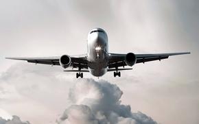 Картинка облака, огни, самолет