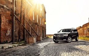 Картинка авто, закат, черный, Dodge Durango