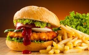 Обои Fast food, гамбургер, картофель фри