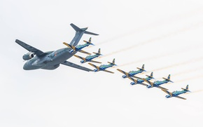 Картинка KC-390, FAB, Embraer, Smoke Squadron, Brazilian Air Force, Força Áerea Brasileira, military aircraft