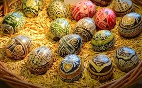 Картинка яйца, писанки, Easter, праздник, корзинка, зёрна, Пасха