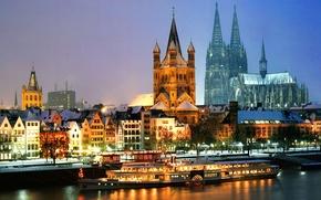 Обои зима, снег, ночь, огни, река, корабль, дома, Германия, собор, Кельн, Северный Рейн-Вестфалия