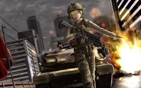 Картинка девушка, город, оружие, танк, battlefield, жест, art, soysoy68