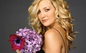 Картинка цветы, модель, букет, актриса, блондинка, Kate Hudson