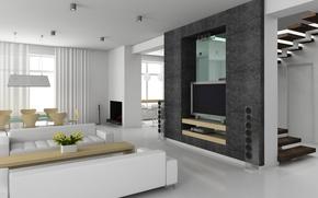Картинка комната, диван, телевизор, колонки, кинозал