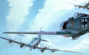 Картинка война, рисунок, истребитель, арт, воздушный бой, бомбордировщики, перехват, fw-190, b-17, Keith Ferris, a test of …