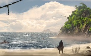 Картинка море, пляж, океан, остров, арт, пираты, Assassin's Creed IV: Black Flag