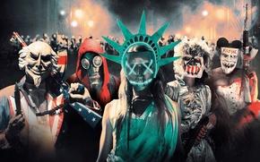 Картинка ночь, огни, оружие, люди, фантастика, маски, триллер, боевик, постер, ужасы, The Purge: Election Year, Судная …