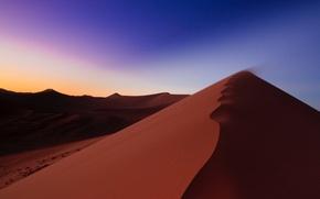 Картинка песок, небо, восход, пустыня, дюны, Африка, Намибия