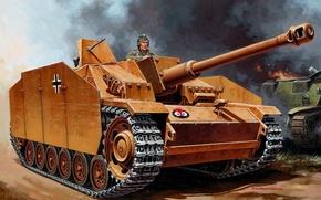 Картинка war, art, ww2, panzer, paiting, Sturmgeschütz III, gemrna tank, StuG-III Ausf.G, german panzer