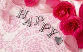 Картинка счастье, сердце, розы, перья, happy, сердечко