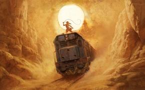 Картинка песок, девушка, солнце, скалы, пустыня, рисунок, жара, поезд, арт, каньон, ущелье, girl, rock, Индиана Джонс, …