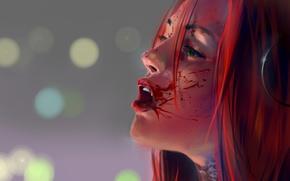 Картинка взгляд, девушка, кровь, BloodRayne, красные волосы. профиль. клыки