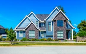 Обои улица, дом, тротуар, голубое, дорога, небо, дизайн