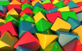 Обои краски, грань, объем, рендеринг, кубик