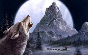 Картинка зима, волки, живопись, Tok Hwang