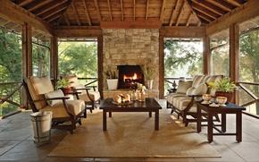 Картинка garden, home, fireplace, elegant, cozy, Ohio, Columbus