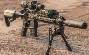 Картинка military, floor, assault rifle, telescopic sight