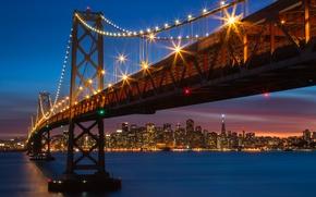 Картинка мост, огни, Калифорния, Сан-Франциско, ночной город, California, San Francisco, Bay Bridge, San Francisco Bay, залив …