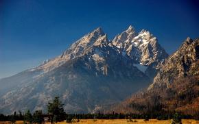 Обои синий, снег, Горы