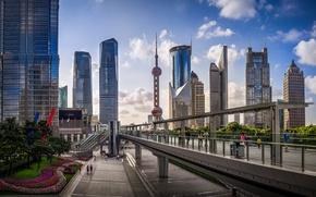 Обои сад, Oriental Pearl Tower, люди, Китай, улица, Bank of Shanghai Headquarters, автобусная остановка, Шанхай