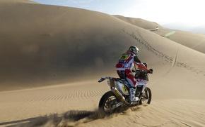Картинка Мотоцикл, Песок, гонщик, Dakar, Солнце, Дакар, Дюны, Ралли