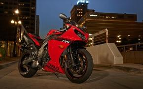 Картинка дорога, красный, город, огни, тень, вечер, мотоцикл, red, yamaha, bike, ямаха, yzf-r1