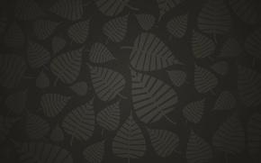 Картинка тёмный, Листья, чёрный, серый, фон